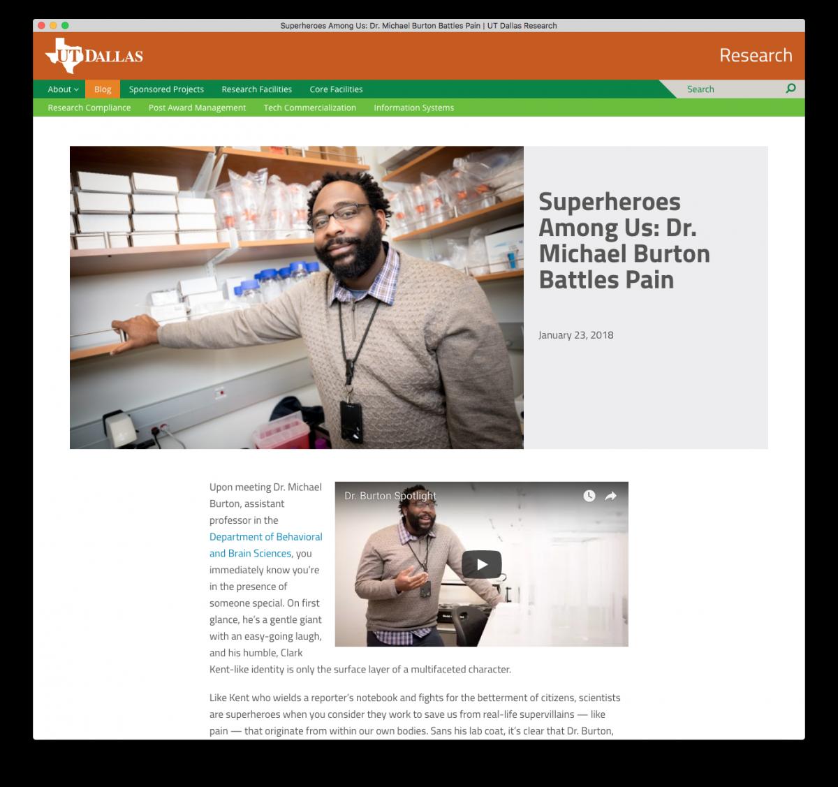 Research website screenshot